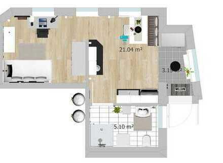 Erstbezug: stilvolles, möbliertes 1-Zimmer-EG-Appartement mit Einbauküche in Schwabmühlhausen