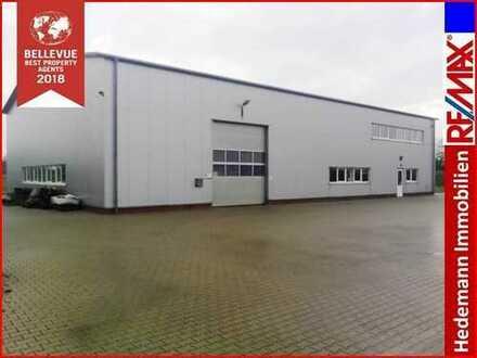 **neuwertige Gewerbehalle mit bester Verkehrsanbindung in Bunde/West**250 m von NL-Grenze entfernt *