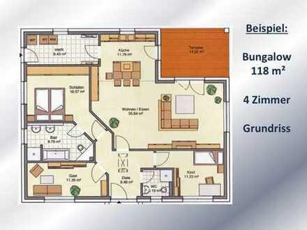 mit überdachter Terrasse - BUNGALOW 118 m² Wohnfläche