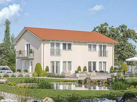 Neubau schöne schlüsselfertige Doppelhaushälfte inkl. Grundstück, Keller, KFW 40
