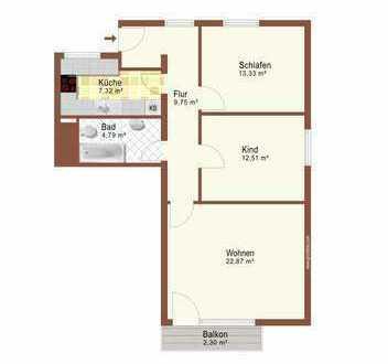 Schön geschnittene 3-Zimmer-Wohnung mit 73 m² und Balkon - Südseite!