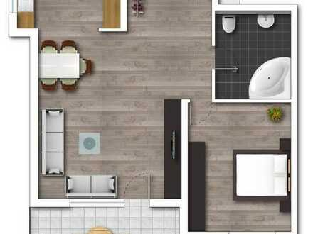 Gepflegte Wohnung mit zwei Zimmern sowie Balkon und Einbauküche in Karlsdorf-Neuthard