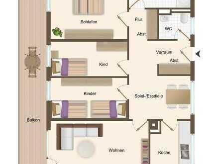 Helle 4 Zimmerwohnung mit großem Balkon