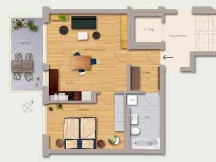 Erstbezug: exklusive 2-Zimmer-Wohnung mit Einbauküche und Balkon mit Blick auf Kaiserburg