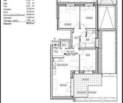 Neubau - Erstbezug: 4 Zimmer-Whg. mit Gartenterrasse, Gäste-WC und Fußbodenheizung