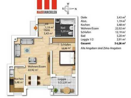 MAIER - Kernsanierte 2,5-Zimmer-Wohnung im 3. OG mit Südostloggia und TG in ruhiger Lage