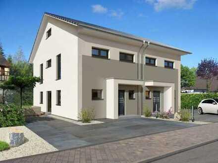 Doppelhaus mit Bodenplatte und realem Grundstück
