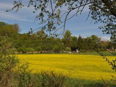 Bauplatz in Südlage und ruhiger Anliegerstraße. Dort wo die Rapsfelder herrlich gelb blühen!