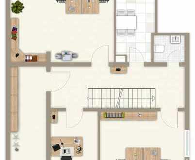 ERSTBEZUG NACH SANIERUNG / 5-Zimmer-Büro mit Terrasse und Gartennutzung in Isen