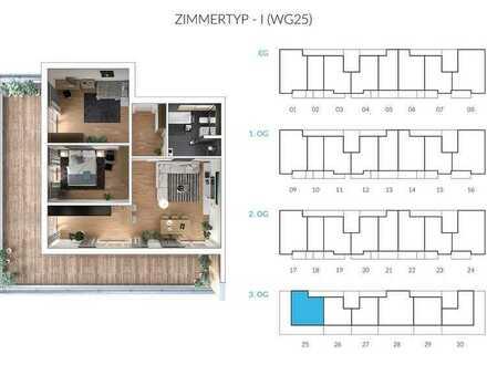 Erstbezug mit Balkon: ansprechende 3-Zimmer-Penthouse-Wohnung in Massing