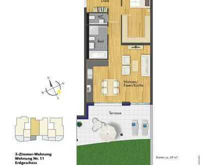 Besichtigen-Kaufen-Einziehen! 3- Zimmer Wohnung im EG( Haus 2, Whg. 11 ) mit großer Terrasse