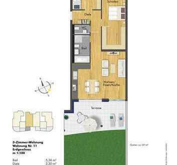 Grüne OASE mit großer Terrasse, 3- Zimmer Wohnung im EG( Haus 2, Whg. 11 )
