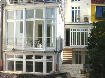 Sanierte 160 m² Maisonette-Wohnung mit EbK, Garten und Wintergarten in Art-Deco-Haus im Erphoviertel