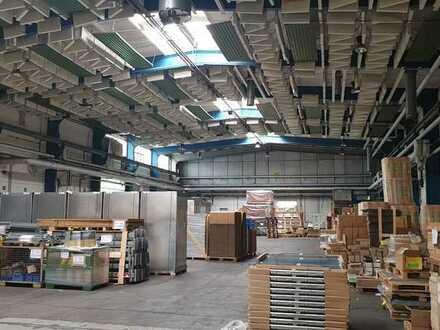 hohe moderne Produktionshalle mit Kran