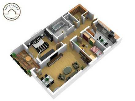 Sonnige, neu renovierte 3- Zimmer Wohnung in schöner Aussichtslage