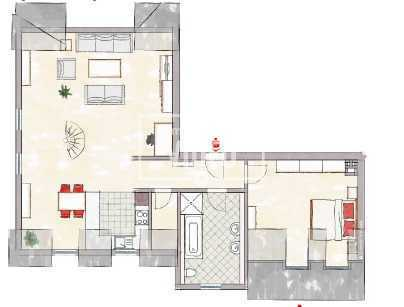 3-Zimmer-Maisonette-Wohnung, Bad mit Dusche und Wanne, Flur, Abstellraum, Keller