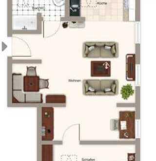 Möblierte 2 Zimmer-Dachgeschoss-Wohnung mit Blick auf die Weinberge