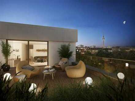 Penthouse mit 50 m² Süd-West-Terrasse, Kamin in Berlin Mitte