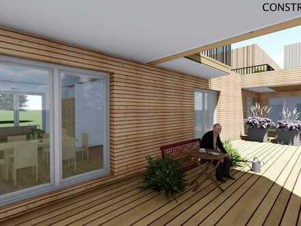 Panoramablick zum Erzgebirge mit Terrasse und Gartenanteil Fertigstellung 12/2020