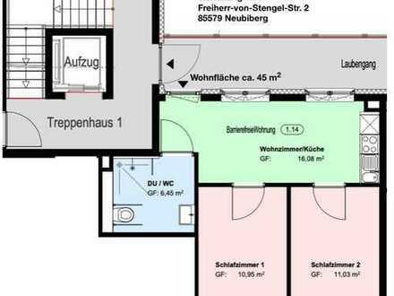 Exklusive, sanierte 2-Zimmer-Wohnung mit EBK in Neubiberg