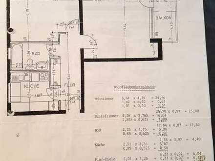 63qm, zwei Zimmer, Küche, Diele, Fensterbad, Balkon in der Waldsiedlung