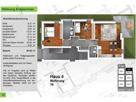 Provisionsfrei - Haus 4_84,59qm 3 Zimmer Terrassenwohnung