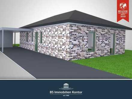 Idealer Altersruhesitz! Neubau-Bungalow KFW-55 mit Terrasse, Carport und Garten in ruhiger Wohnlage!