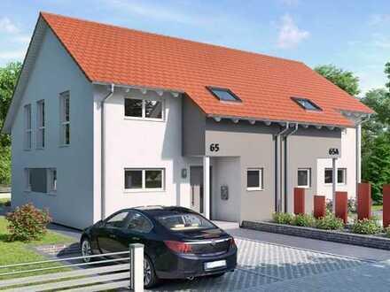 Doppelhaushälfte. Vorlage dient als Beispiel. Hausgröße kann noch verändert werden.