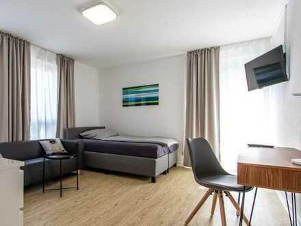 Eine sonnige und große Einzimmerwohnung mit Balkon