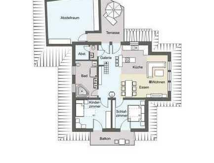 Stilvolle 3-Zimmer-DG-Wohnung mit Balkon und Einbauküche in Lichtenstein