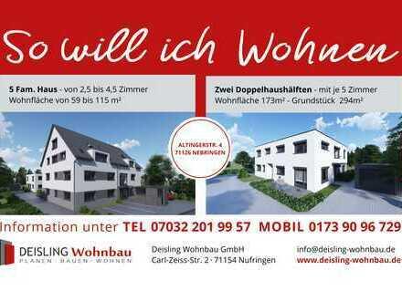 Moderne 2-Zimmer-Wohnung 59,1 m² Wfl. mit Südbalkon. Neubau in Nebringen!