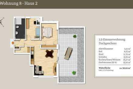 Eine echte Rarität - 3,5-Zi.-Penthousewohnung mit riesiger Dachterrasse