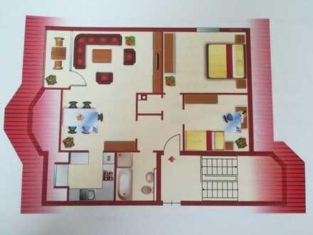 Gepflegte DG-Wohnung mit drei Zimmern sowie Balkon und Einbauküche in Eberbach