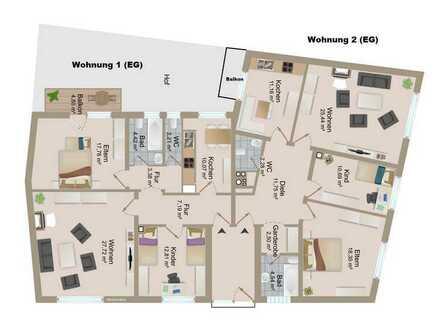 3 Zimmer-Eigentumswohnung (EG-90m²) mit Balkon in Zentrumslage von Landau