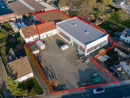 Produktionshalle mit angrenzender Lagerhalle, Büroräumen und Hoffläche