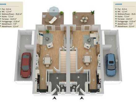 Neubauprojekt - Förderfähige Doppelhaushälfte mit Fertiggarage und Glasfaseranschluss