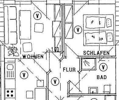 Sanierte 2-Zimmer-Dachgeschosswohnung mit Balkon und Einbauküche in Hatten