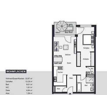 !!! Reserviert !!! 2,5 Zimmerwohnung mit Westbalkon