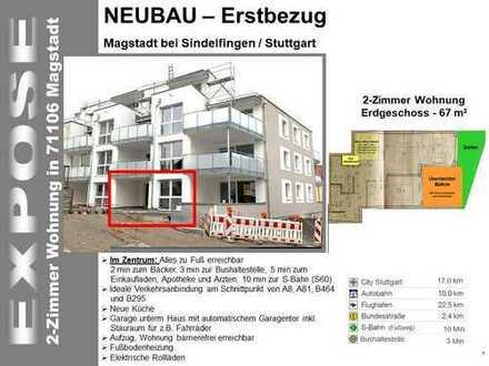 NEUBAU - Erstbezug (zur Miete) mit EBK und Terasse: Exklusive 2-Zimmer-EG-Wohnung in Magstadt