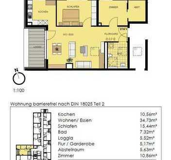 Helle 3-Zimmer-Senioren-Wohnung im 1.OG mit windgeschützter Loggia (Whg 9)!