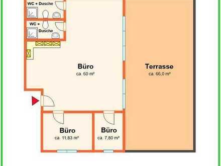 Helle sonnige Büroeinheit mit Einbauküche, zwei WC-Anlagen und große Terrasse