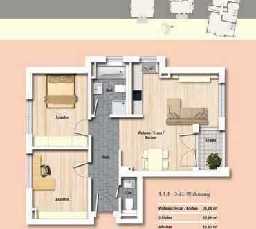 NB-Erstbezug 3 Zimmer, offene Küche, Tageslichtbad, Gäste-WC, Loggia, TG-Platz, Keller, Waschkeller