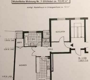 Helle, vollständig renovierte 2-Zimmer-Dachgeschosswohnung mit Balkon in Ossendorf, Köln