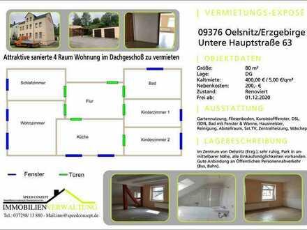 Modernisierte 4-Raum-Dachgeschosswohnung in Oelsnitz/Erzgeb