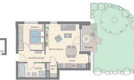 2-Zimmer-Wohnung für Singles und Pärchen mit Terrasse und Gartenanteil