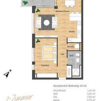 Erstbezug 2-Zimmer-Neubau-Wohnung mit großer Terrasse im Hatz-Areal - Das Tor zur Innenstadt