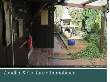 Tolles Gartengrundstück mit Holzhaus, Terrassen, Ofen, Steingrill in Halbhöhenlage in S-Wangen!