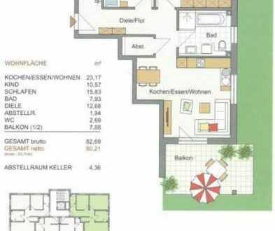 Erstbezug mit Balkon: ansprechende 3-Zimmer-Wohnung in Roding