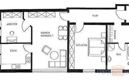 FLATmix.de / Historisches Gebäude. 3-Zimmer-Küche-Bad Whg im 1.OG...