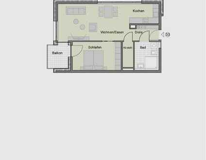 2-Zimmerwohnung im Obergeschoss für Senioren (Whg. 33)